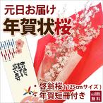 山形の啓翁桜 お正月元旦に届く 豪快に飾れるロングサイズ125cm啓翁桜の年賀状